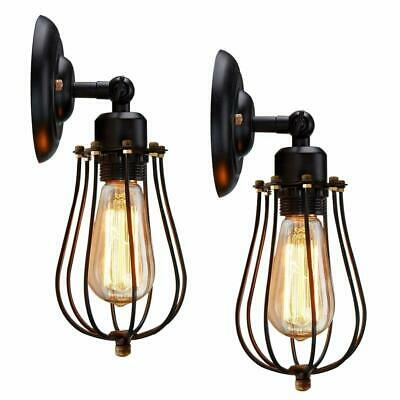 Wire Cage Wall Sconce, KingSo 2 Pack Dimmable Black Metal Industrial Light G8