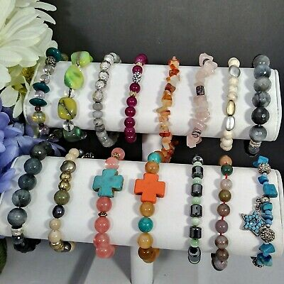Mamas Estate Vintage-Now Glass & Gemstone Beaded Bracelets Lot Assorted Fb-2