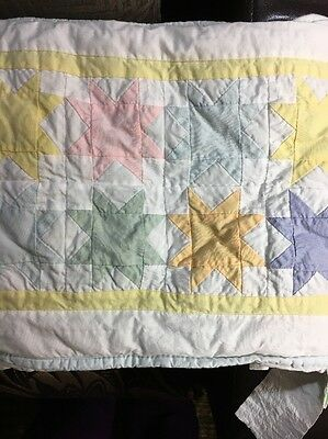 POTTERY BARN KIDS Nursery QUILTED STARS CRIB BUMPER Baby Bedding~EUC~