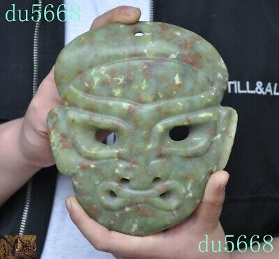 "7""Chinese Hongshan Culture natural Old jade carved Sacrifice prayer mask statue"