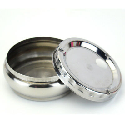 Windproof Round Stainless Steel Cigarette Lidded Ashtray Silver Portable Ashtray