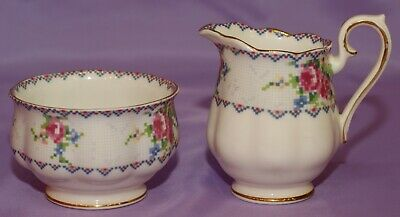 Royal Albert English Bone China Petit Point Chintz Creamer Cream & Open Sugar