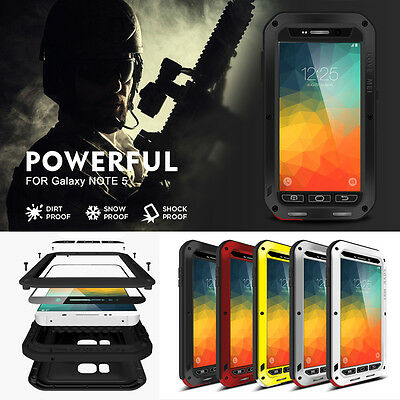 LOVE MEI Water/Shockproof Dual Aluminum Metal Case+Tempered Glass Cover Black#T