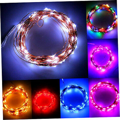 10M 100LED Copper Wire Xmas Wedding String Fairy Light Lamp Battery Operated #r