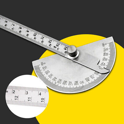 Stainless Steel 0-180° Protractor Angle Finder Arm Rotary Measuring Ruler Tool