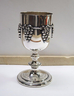 Vintage Sterling Silver Kiddush Cup w/ Grape Motif