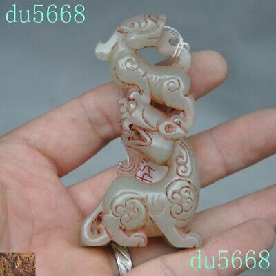 """3""""Xinjiang Hetian Old jade carved Mother&child Pixiu beast statue amulet Pendant"""