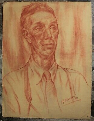 Canadian Stanley G. Moyer (1887-1968) Sanguine Man Portrait - Signed Circa 1941