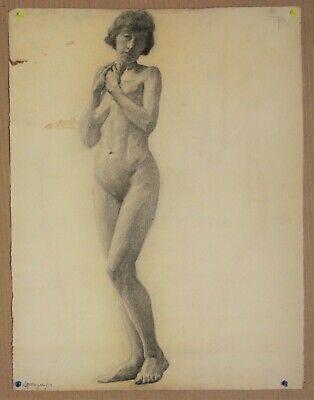 Canadian Stanley G. Moyer (1887-1968) Graphite Drawing - Nude Mature Lady c1917