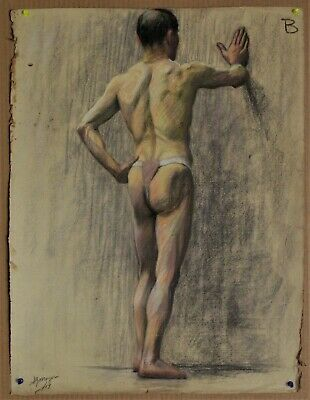 Canadian Stanley G. Moyer (1887-1968) Pastel Drawing - Nude Male Signed c1917