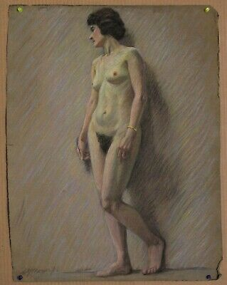Canadian Stanley G. Moyer (1887-1968) Pastel Drawing - Nude Female Signed 1916