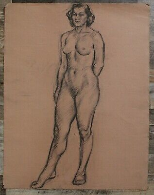 Canadian Stanley G. Moyer (1887-1968) Pastel Drawing - Standing Nude Woman