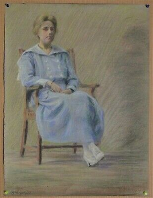 Canadian Stanley G. Moyer (1887-1968) Pastel Drawing - Lady In Chair c1917
