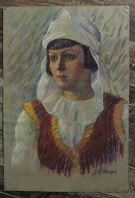Canadian Stanley Gordon Moyer (1887-1968) Pastel Drawing - Woman In Costume