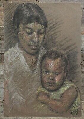 Canadian Stanley Gordon Moyer (1887-1968) Pastel Drawing- Mother & Baby Portrait