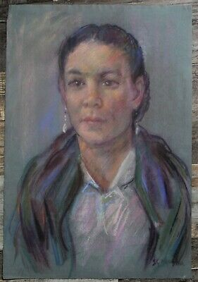 Canadian Stanley Gordon Moyer (1887-1968) Pastel Drawing - Signed Native Woman