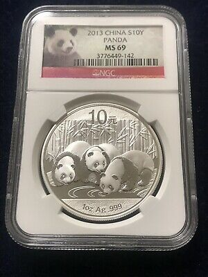 2013 10 Yuan Silver Chinese Panda 1oz NGC MS69 Panda Label