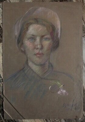 Canadian Stanley Gordon Moyer (1887-1968) Pastel Drawing- Lady In Pink Hat c1935