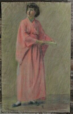 Canadian Stanley G. Moyer (1887-1968) Pastel Drawing- Asian Lady In Kimono c1917