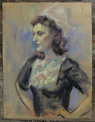 Canadian Stanley G. Moyer (1887-1968) Pastel Drawing - Lady Nurse Maid Portrait