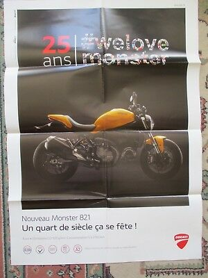 Poster 8 Pages Moto : Ducati Monster 1993 - 2018 : 25 Ans + Monster 821 Jaune