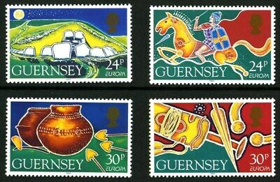 GUERNSEY 1994 EUROPA ARCHAEOLOGY SET OF ALL 4 COMMEMORATIVE STAMPS MNH (a)