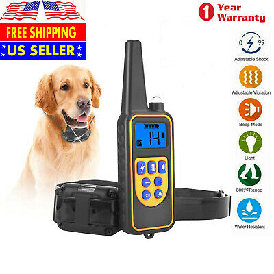 Pet Dog Training Collar Electric Shock LCD Rechargeable Remote Train Waterproof