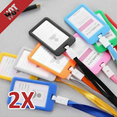 2X Plastic Business Badge ID Card Vertical Holders With Neck Strap Lanyard 5Type