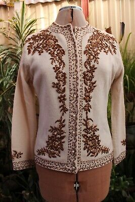 Vintage,Beaded Cardigan,wool,1950'S,about size 8-10,made in Hong Kong