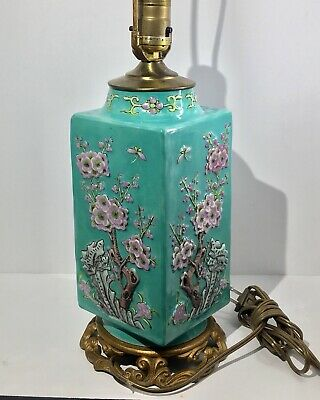 Square Antique Chinese High Relief Enameled Peony Trees Vase ~ Lamp