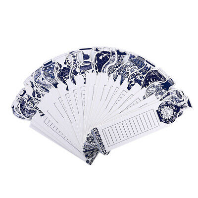 30pcs/box Exquisite Bookmark Blue and White Porcelain Bookmarks School Supply DM