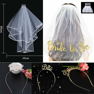 Bride To Be Veil Bridesmaid Tiara Crown Wedding Rose Gold Hen Party Sashes