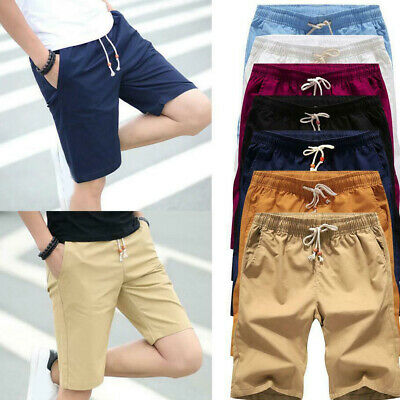 Mens Cargo Shorts Drawstring Loose Fit Casual Pocket Short Cotton Pants Summer