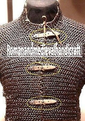 Flat Riveted Chain Mail Shirt Large HUBERGION Front Open Blackened