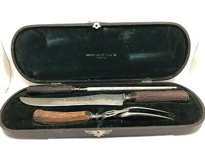 Shreve Crump & Low Carving Set With Sterling Silver Ends In Original Box