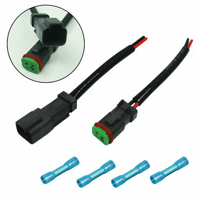 2x Heavy Duty Deutsch DT DTP Male/Female Adapters Connectors Pigtails For Lights