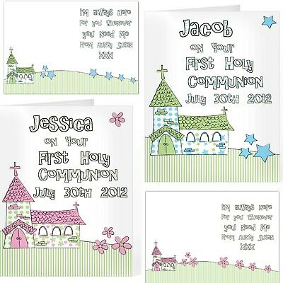 Personalised First Holy Communion Card Boy Blue Girl Pink Whimsical Church