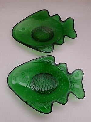 Pair of Vintage Green Pressed Glass Fish Dish Soap Dish