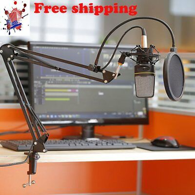 Microphone Shock Mount Stand Holder with Integrated Pop Filter Black Kit Uy