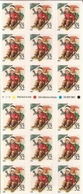 US Stamps 1995 Christmas Children Sledding Booklet of 18 Stamps #3013a