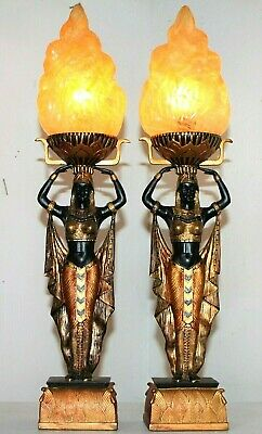 """Pair Of 22"""" Tall Egyptian Figural Art Deco Style Lamps W/ Art Glass Flame Shades"""
