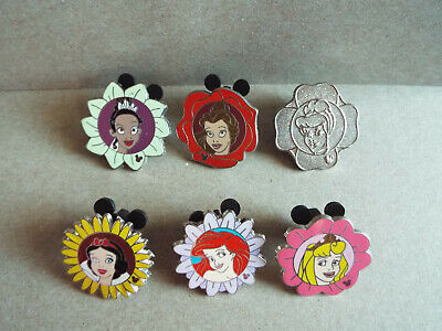 Disney Parks 2011 PRINCESS FLOWERS Hidden Mickey Cast Member Pin Set Lot Chaser