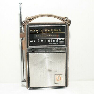 Vintage GE General Electric AM/FM 15 Transistor Radio P975D Classic Leather NM