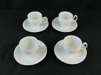 Bernadotte White Porcelaine Fine Bone China Set Of 4 Footed Teacup & Saucer Set