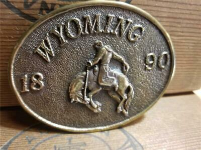 Vintage 1970s Wyoming 1890 Bucking Bronco Cowboy Rodeo Oval Brass Belt Buckle