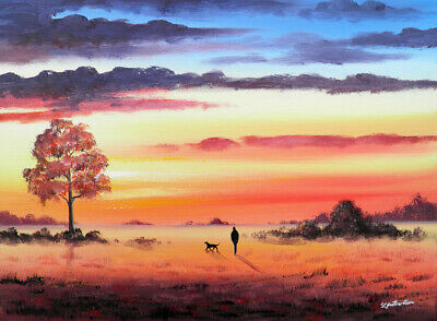 ORIGINAL MODERN LANDSCAPE CANVAS PAINTING Sarah Featherstone, Sunset Walk