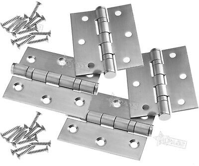 """2 Pair 3"""" Door Hinge Stainless Steel Double Ball Bearing Butt Fire Rated FD30/60"""