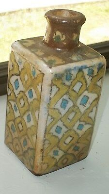 Antique Islamic Turkish Iznik Persian Ceramic Pottery Square Bottle