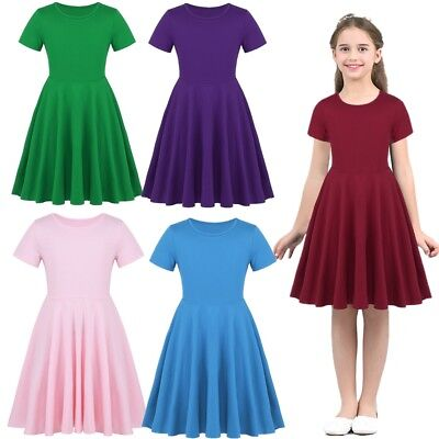 ab72b61e1544 Girls Cotton High-Waisted Twirly Skater Dress Toddler Kids Casual Party  Dresses