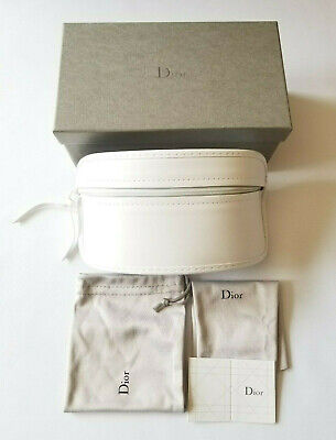 Dior Large White Semi-Hard Sunglass Case Box Warranty Card Pouch Cleaning Cloth